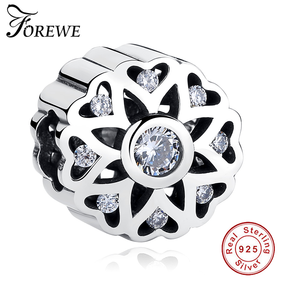FOREWE 925 Sterling Silver Round Beads Fit Original Pandora Charms Bracelets Snowflake Charm With Clear Cubic Zirconia Berloque