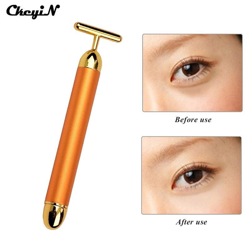 CkeyiN 24K Beauty Bar Golden Derma Energy Face Massager Beauty Care Vibration Pulse Firming Facial Roller Massage Stick MR002G