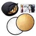 43  / 110 cm 2em1 ouro e prata pega de portátil dobrável foto disco luz do refletor para fotografia auxiliar