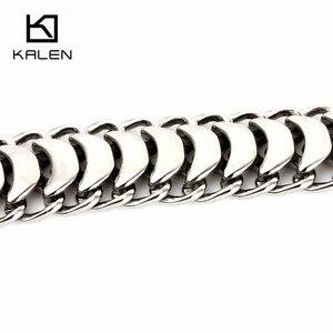 Image 5 - Kalen yeni yüksek parlak parlak bilezik paslanmaz çelik bisiklet zinciri bisiklet zinciri bilezik moda erkek aksesuarları 2018