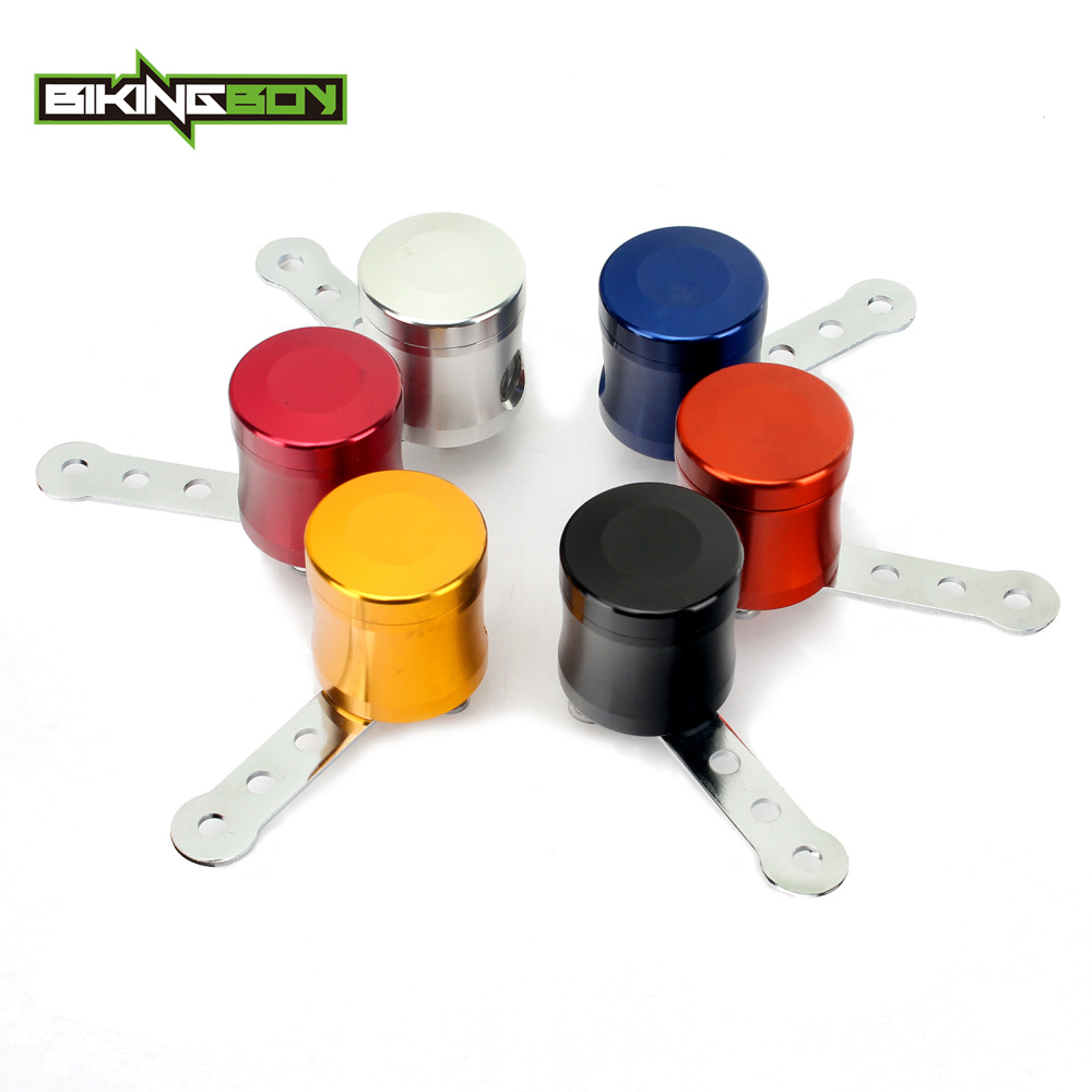 BIKINGBOY Universal Billet Motorcycle Brake Fluid Reservoir Clutch Tank Cylinder Master Oil Cup For Honda Kawasaki Suzuki Yamaha motorcycle brake fluid reservoir clutch tank oil fluid cup for yamaha yzf r25 r15 r6 r125 kawasaki z750 z800 fz8 fz1 fz6r mt09