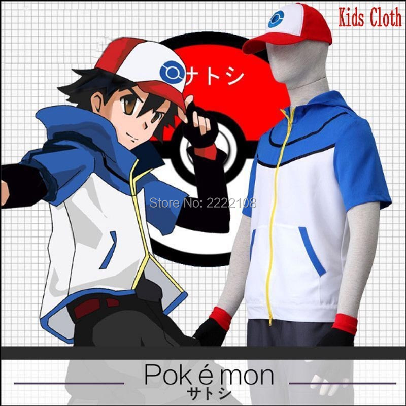 New 2016 Arrival OHCOS Kids Pokemon Ash Ketchum Trainer Costume Cosplay Clothes Polyester Children Boys Girls Halloween Costume