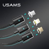 Micro USB Magnetic Cable USAMS 2.1A 1m Nylon Magnetic Data Sync Charger Cable for iPhone Magnet Charging cable for Type C