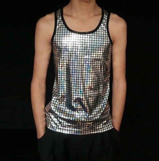 Ücretsiz kargo Toptan Yeni Varış Rahat Erkekler Tank Tops Payetli Moda Pamuk Erkek Tanklar Hiphop Tee Göstermek Sahne Aşınma L, XL, XXL