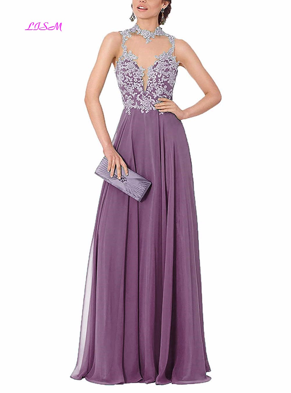 Vestido De Festa Longo Elegant Lace Applique Long Evening Dress Sexy Backless Chiffon Evening Gown Abendkleider vestido de noche in Evening Dresses from Weddings Events