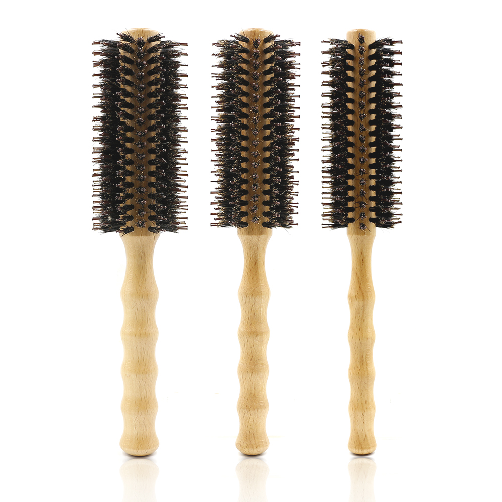 Professional Boar Bristle Hair Round Wood Brush Hair Straightening And Curling Comb For Hairdressing Tool 3 Sizes Available