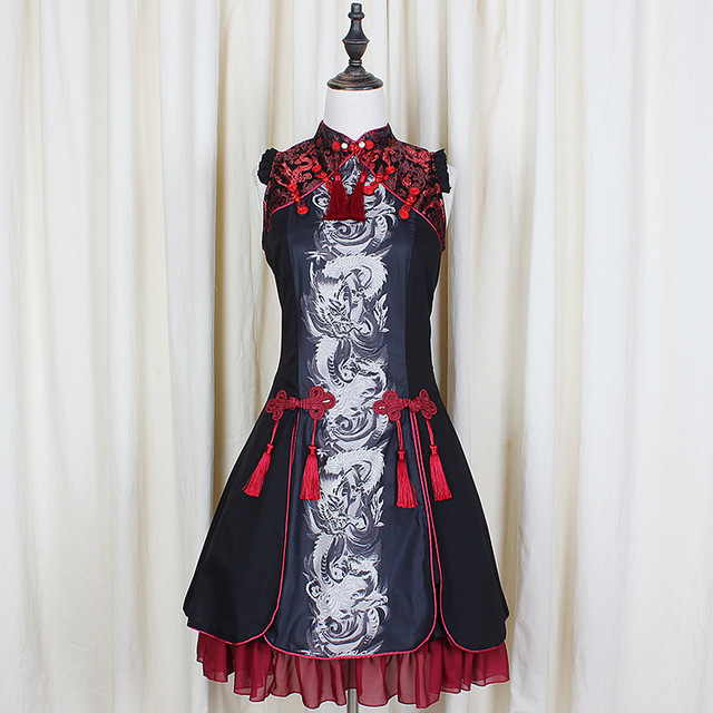 New Summer Retro Gothic Lolita Woman Dragon White Tiger Chinese Style Dresses Audrey Hepburn Palace Classical Embroidered Dress