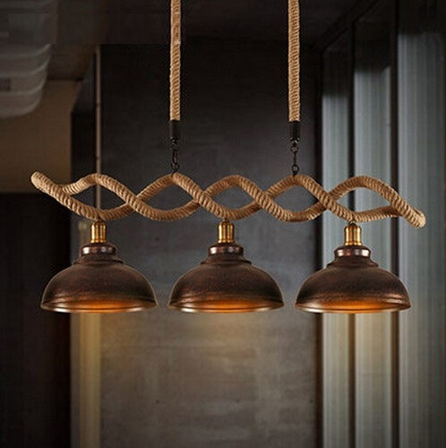 Hemp Rope Edison Loft Style Industrial Vintage Pendant Lights With 3 Fixtures For Bar Dining