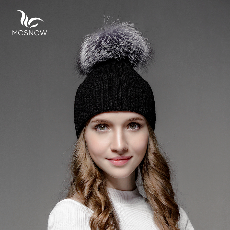 Mosnow Wool Silver Fox Fur Pom Poms Hat Winter  Warm Women High Quality Vogue Knitted Casual  Hats For Girls Skullies Beanies skullies beanies newborn cute winter kids baby hats knitted pom pom hat wool hemming hat drop shipping high quality s30