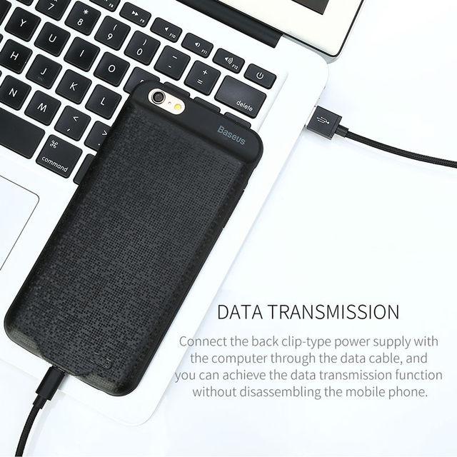 Coque batterie aimantée Baseus ultra mince Pour iPhone 6 6s puissance 2500/3650 mAh