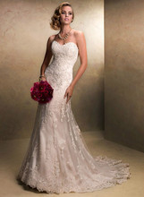 Custom Made Vestido De Novia White/Ivory Satin Applique A-Line Lace Wedding Dress Bridal Gown