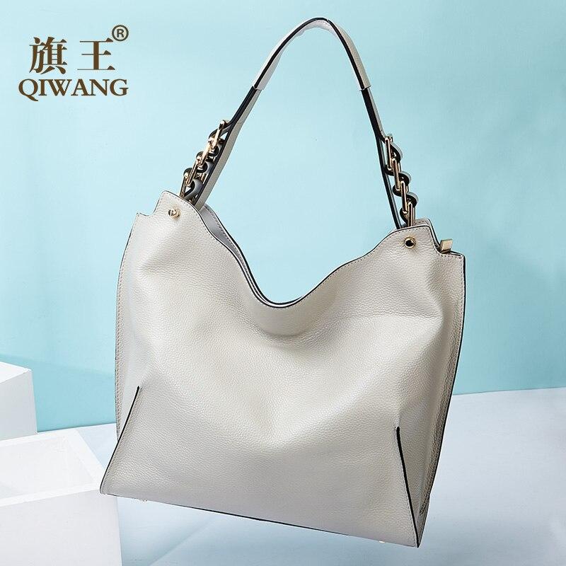 Qiwang donne borse di Grande Capienza del cuoio genuino della mucca di spalla sacchetti di mano delle signore 2019 pelle pieno fiore casual tote bag-in Borse con manici da Valigie e borse su  Gruppo 1