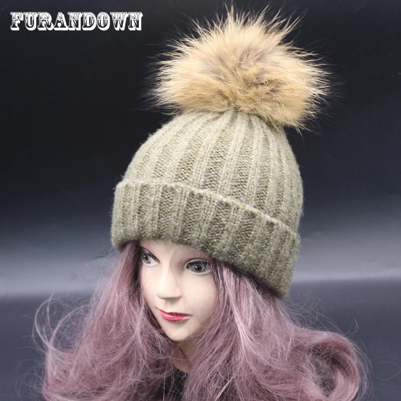 2017 Women Winter Fur Pom Pom Hat Cashmere Wool Thick Knit Beanie Raccoon Poms Bobble Hats