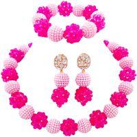 Best selling Pink Fuchsia Pink Nigeria Classic Wedding Jewellery Sets for Women 1C SJZZ 12