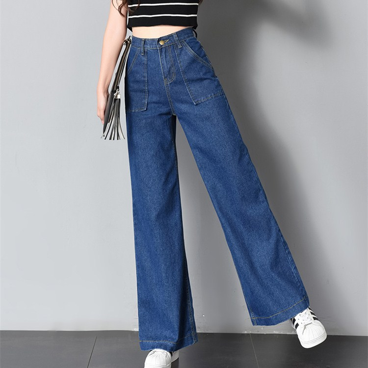 Autumn Summer Pants Women Denim Jeans Pantalon Femme Trousers Chic Kpop High Waisted Jeans Loose Fashion Wide Leg Pants