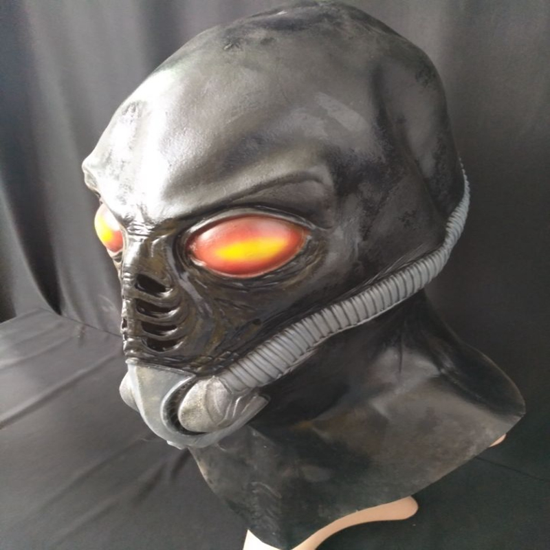 Halloween UFO Shaped Latex Mask Full Head Horror Predator Rubber Masks Masquerade Party Adult Cosplay Fancy Costume Props