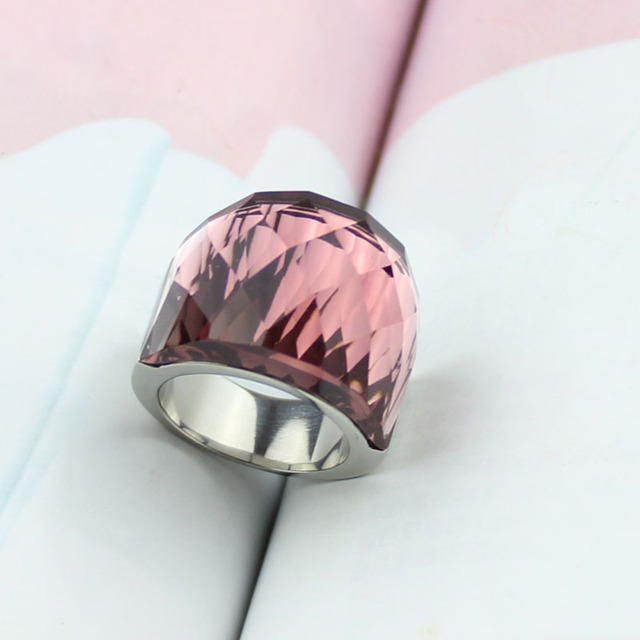 Фото женское кольцо из нержавеющей стали прозрачное винно красное цена