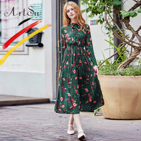 ArtSu Green Tropical Print Dresses Women Spring Autumn Vintage Floral Pleated Dress Chiffon Dresses Ladies Beach