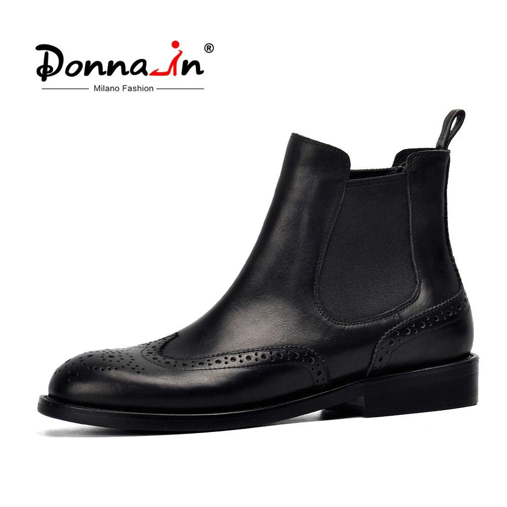 Donna-em Mulheres Botas De Couro Genuíno Ankle Boots Brogue Esculpido Moda Chelsea Baixos Saltos Botas Senhoras Primavera 2019 Senhoras sapatos