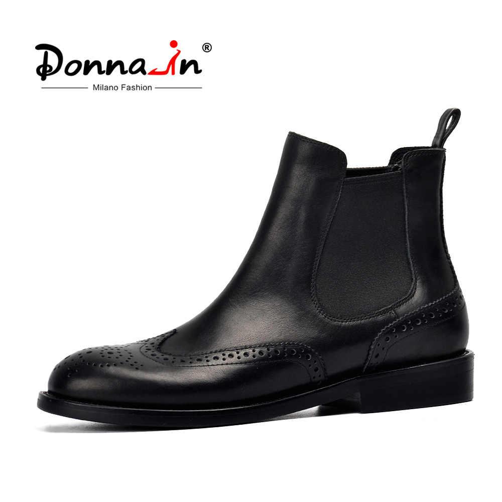 Donna-in Kadın Hakiki Deri Çizmeler Brogue Oyma yarım çizmeler Moda Chelsea Düşük Topuklar Bayanlar Patik Sonbahar 2019 Bayan Ayakkabıları