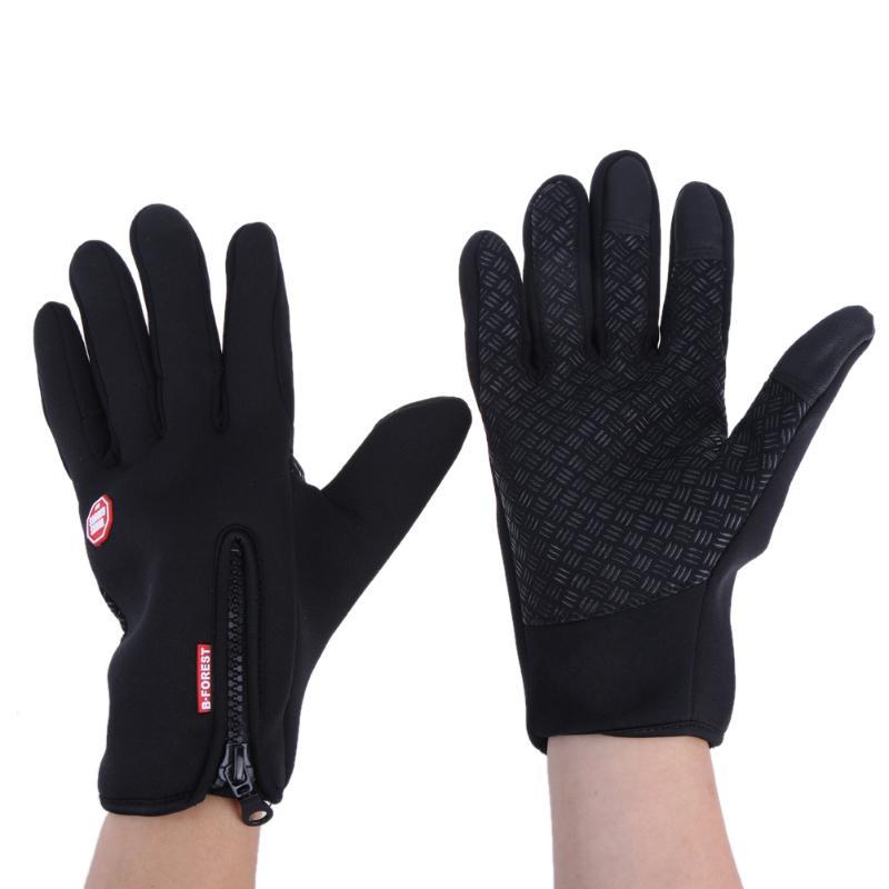 1Pair Outdoor Men Cycling Gloves Women Winter Warm Full Finger Riding Gloves Unisex Fleece Skiing Gloves