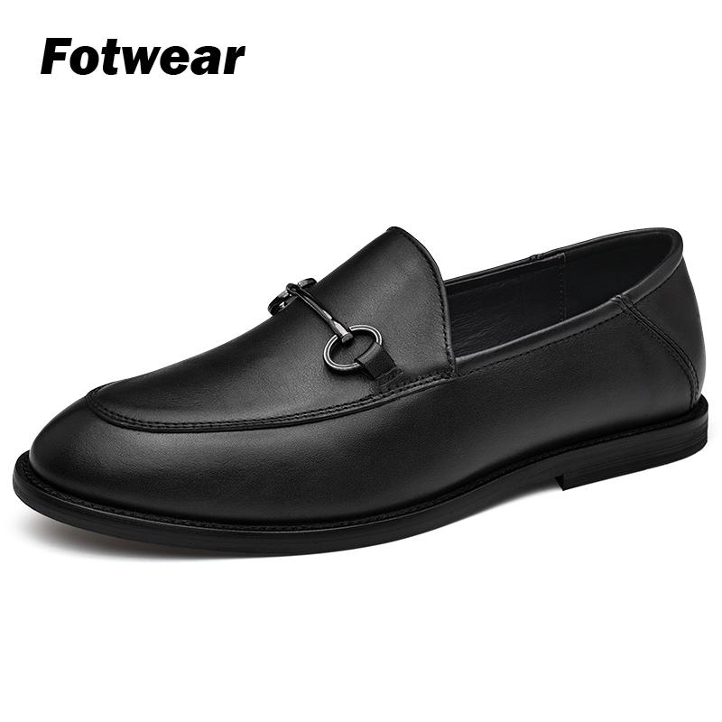 Men real leather shoes High quality Leather loafer Chaussure homme with metal ornament Formal oxford shoes for men wedding dress in Men 39 s Casual Shoes from Shoes