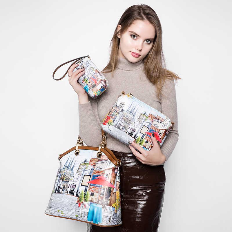 REALER frau 3 stücke gedruckt handtasche frauen große einkaufstasche künstliche leder schulter messenger taschen weibliche kleine geldbörse