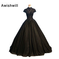 Real Photo Nero Vestiti Da Sera Lungo Collo Alto Manica Corta bordare Appliques di Tulle Ball Gown Vestido De festa Robe De Soiree