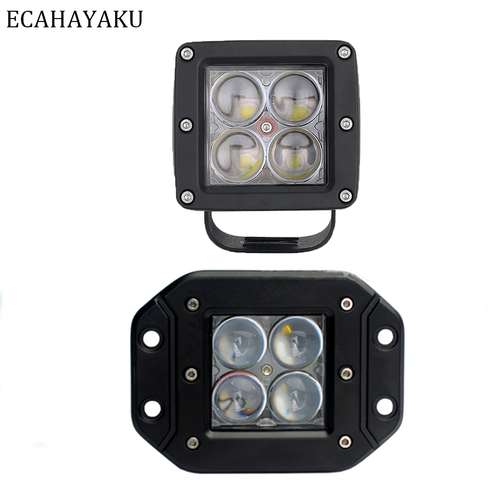 3 inch 24W Square LED Spot Cube Work Light Pods Truck Offroad SUV Dirving
