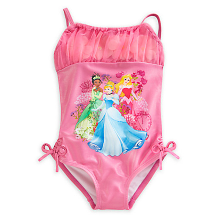 retail Girls One Pieces Swimwear Princess pink Swimsuit Kids Ruffled Swimming Suit For Girl Children Bathing Suit with cap  retail cute girls swimwear ariel one pieces swimsuit kids ruffled swimming suit for girl children bathing suit with cap