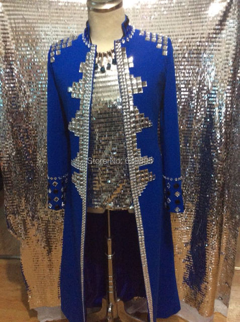 Fashion 2017 Plus Size Costomized Crystals Long Jacket Ds Dj Male Singer  Dancer Costume Rhinestone Coat 99b65e878657