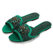 Air Mesh Crystal Flower Summmer Outdoor Beach Vacation Flat Slippers Women Casual Open Toe Comfortable Solid Flip Flop Slippers