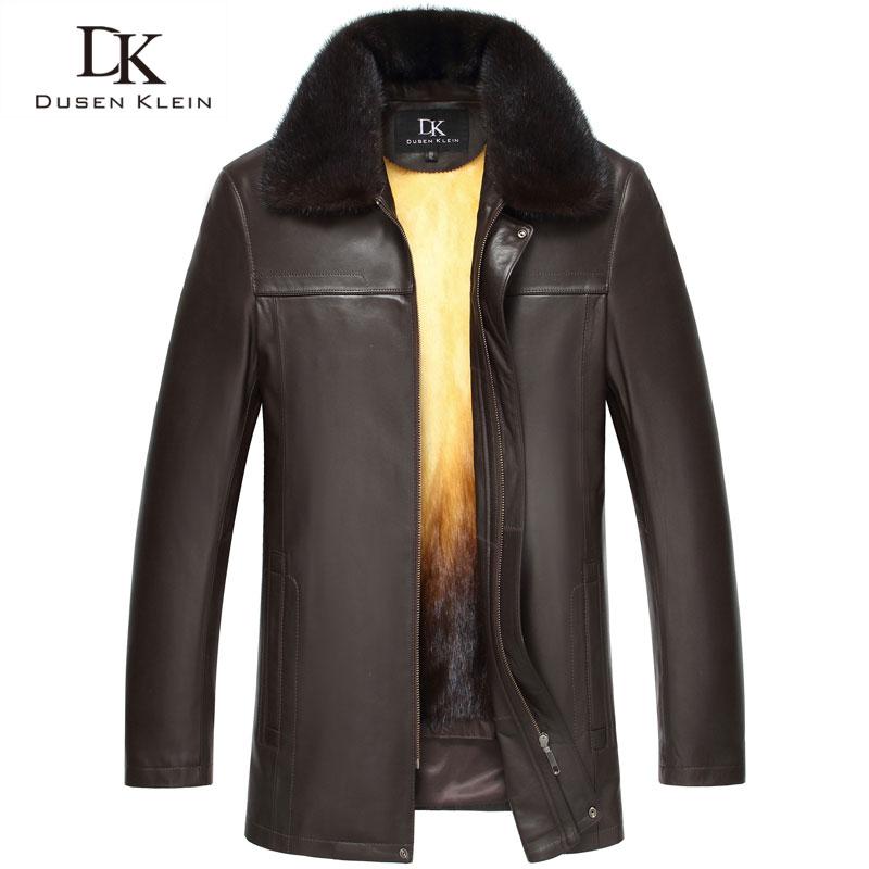 Genuine Leather fur Jacket men Dusen Klein  Removable Mink Fur Liner  Nature Sheepskin Mid-long Winter Outerwear 15B088