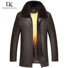 Genuine Leather fur Jacket men Dusen Klein Brand Removable Mink Fur Liner+Wool Collar+Sheepskin Mid-long Winter Outerwear 15B088