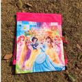 12Pcs Three Princess Drawstring Boys Girls Cartoon School Bag Children Printing School Backpacks for Birthday Party Gifts