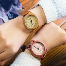 Unisex New Fashion simulation Bamboo Wooden Wristwatch With Leather Casual Men Cowhide Leather Band Lovers Wood Watches Women