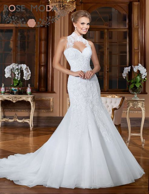 Pearl Beaded Lace Appliqued Mermaid Wedding Dress With Detachable