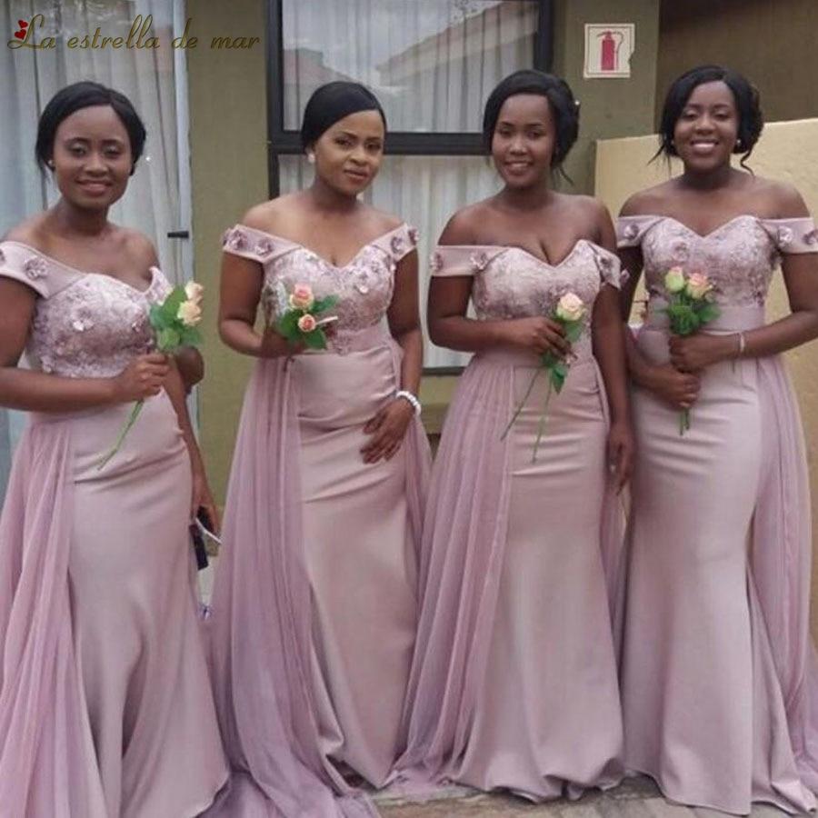 Vestido madrinha 2019 new Boat Neck lace short sleeve sexy mermaid blush pink bridesmaids dresses long plus size wedding party