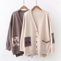 Japanese Mori Girl Sweater Women Clothing Autumn New Full Sleeved V neck Embroidery Preppy Vintage Female Sweater Cardigan