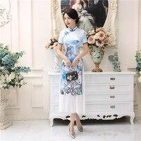 Shanghai Story Vietnam aodai Chinese traditional Clothing For Women long Qipao Chinese Oriental dress White cheongsam ao dai