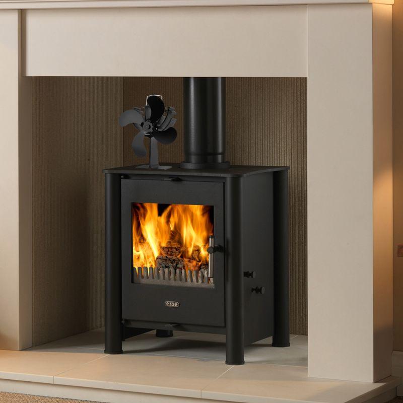 New Hot Wood Stove Eco-friendly Fan 4 Blades Heat Powered Log Burner Fireplace B
