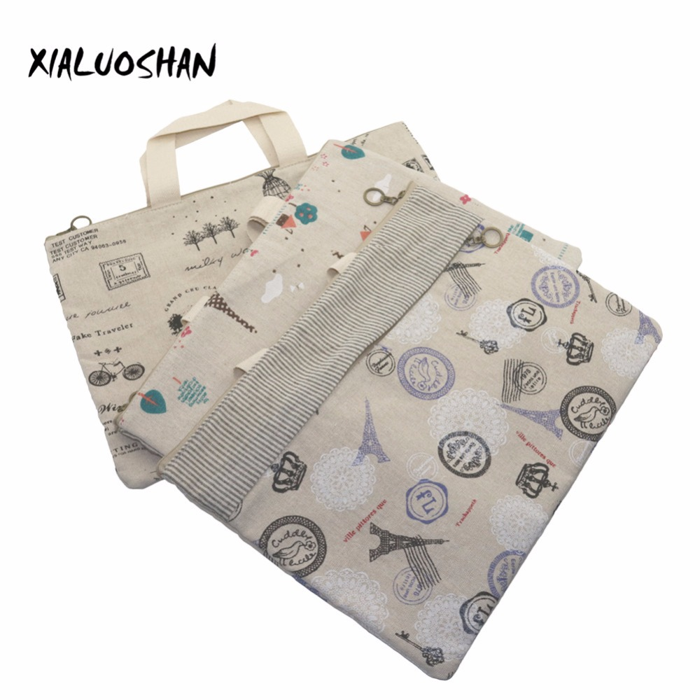 1 Pcs Linen File Holder Portable Double Pull Information Bag School A4 File Folder Document Filing Bag Stationery Bag comix 10pcs a4 pvc zipper document bag file folder filing products office accessories stationery school supplies material 40f56