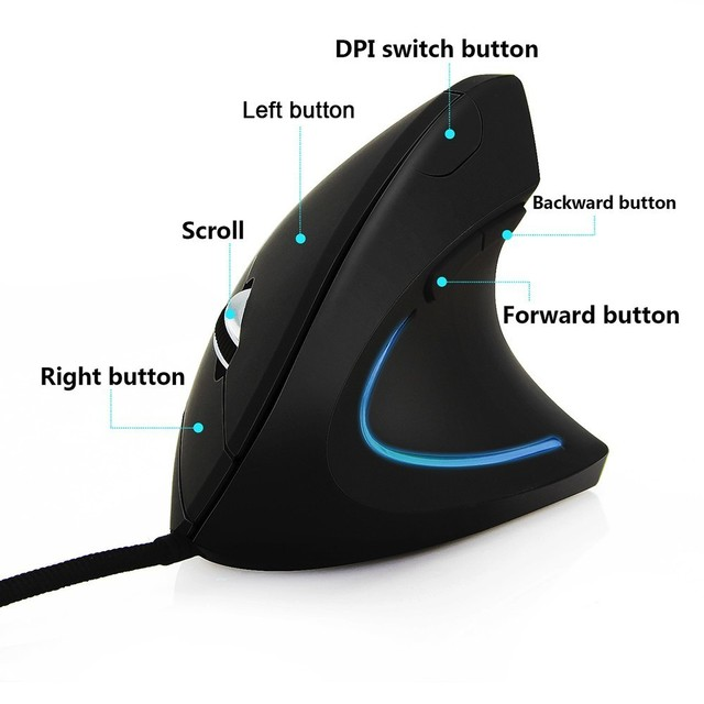 5th-Gen Wired Vertical Mouse Ergonomic LED Backlit Light 3200DPI Wrist Rest Protect Game Mice With Mouse Pad Kit For Computer