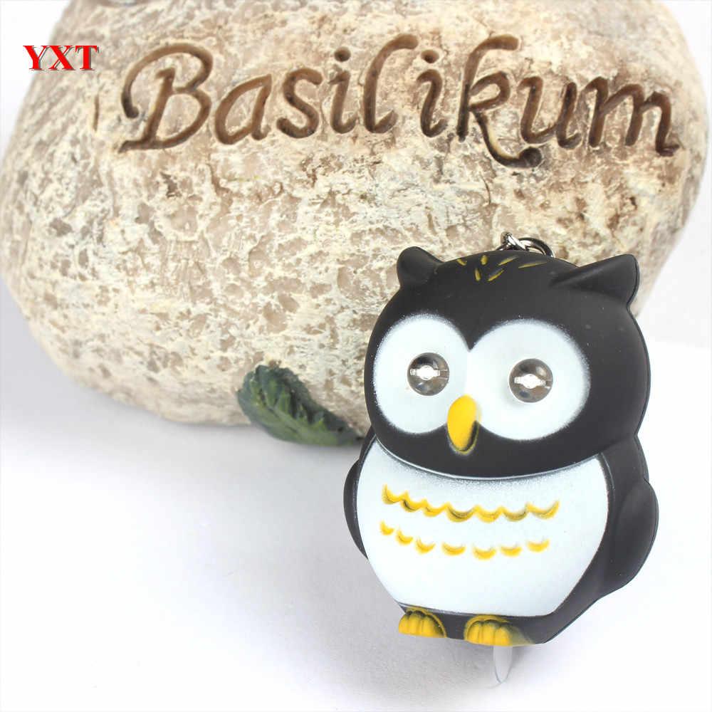 Czarna sowa ptak LED sprawiają, że dźwięk i światło piękne nowe mody śliczny urok wisiorek brelok do kluczy delikatny prezent
