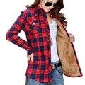 Mujeres Otoño Invierno de la Tela Escocesa Camisas Blusa de Algodón Camisas de Terciopelo Caliente de Manga Larga Delgado Espesar Tops Señoras Blusas Tallas grandes GV294