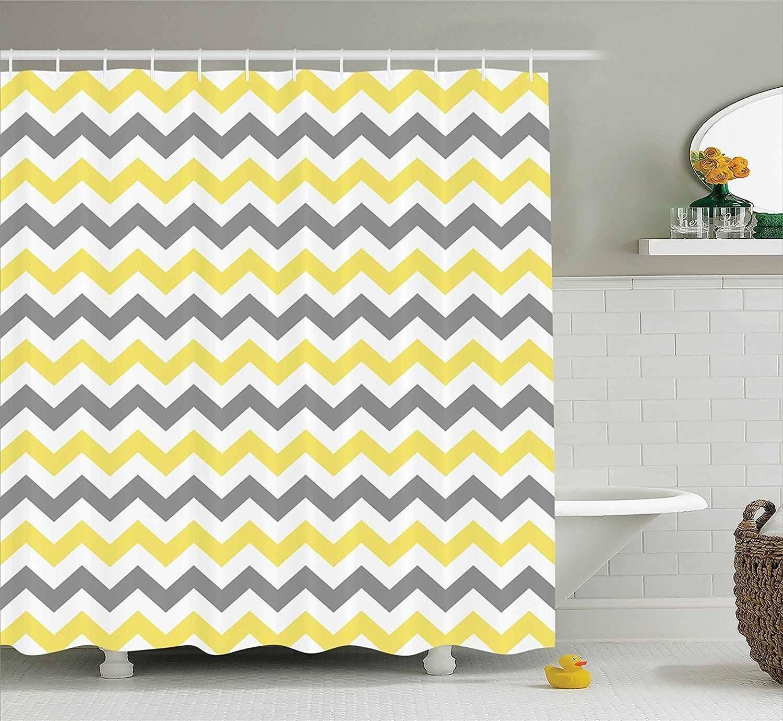 Chevron Zigzag Pattern Bathroom Decor Shower Curtain Yellow