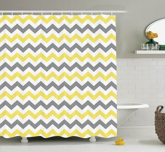 Chevron Zigzag Pattern Bathroom Decor Shower Curtain Yellow Grey White Polyester Waterproof Fabric Curtains