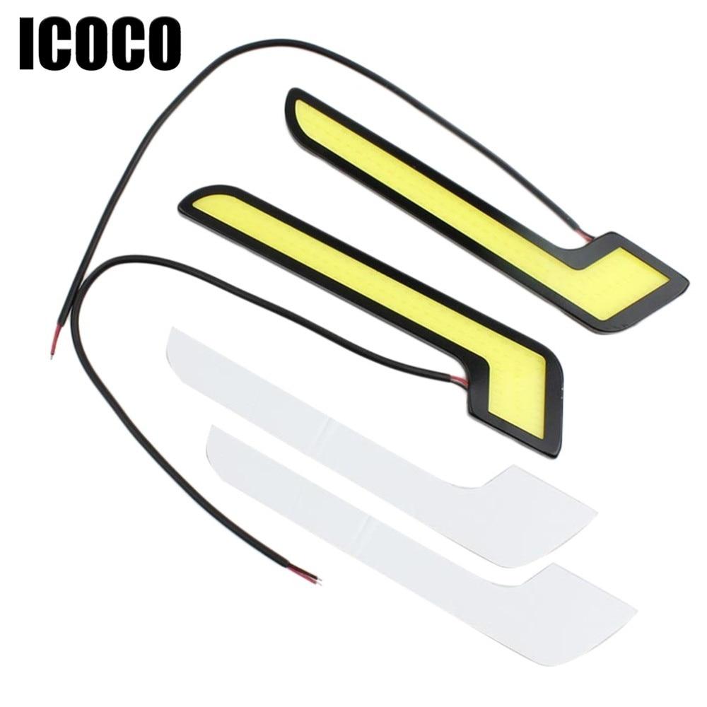 ICOCO LED COB DRL Fog Driving Lamps  flexible rubber 16*3.5cm 2pcs/set  6000K-8000K 12V Car Daytime Running Lights