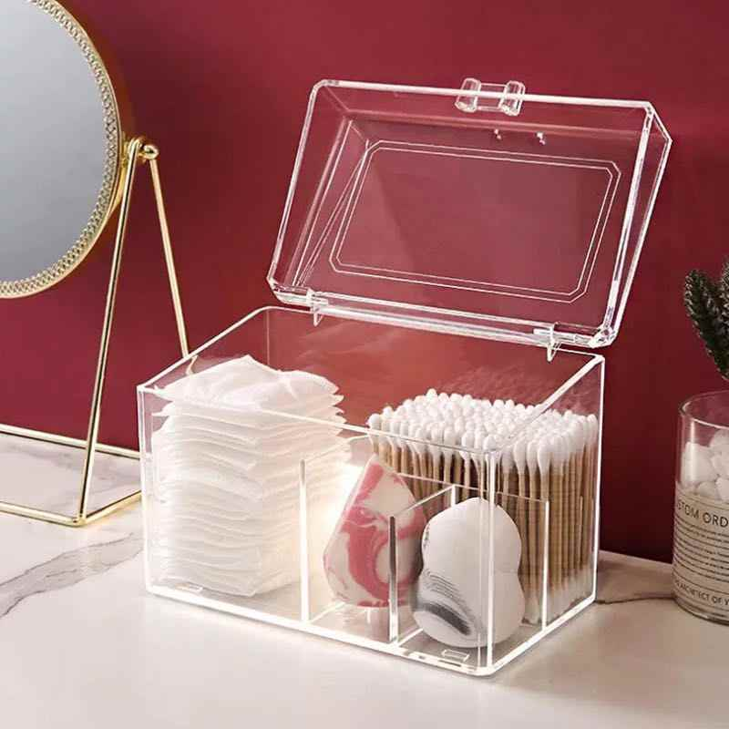 Dustproof Acrylic Makeup Organizer for Cotton Pads/Swab/Beauty Blender Storage Box with Lid Lipstick/Nail Polish Organizer