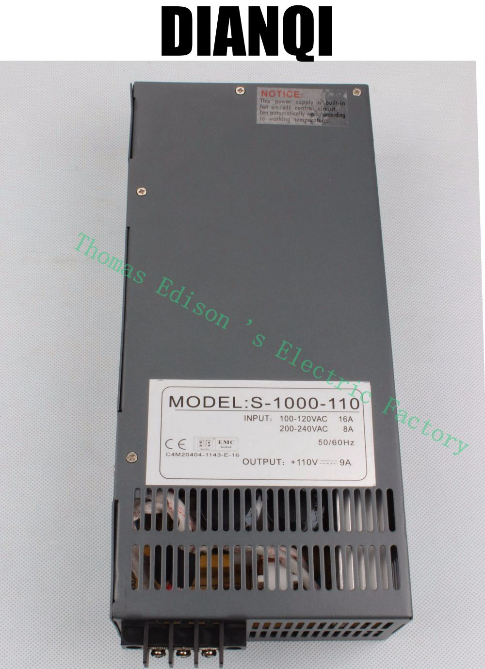 1000W 110V 9a Switching power supply AC to DC input 110v or 220v select by switch 1000w ac to dc power supply S-1000-110 111V